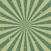 Sunlight Retro Faded Grunge Background. Green And Beige Color Burst Background. Vector Illustration. poster
