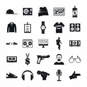 Hiphop Rap Swag Music Dance Icons Set. Simple Illustration Of 16 Hiphop Rap Swag Music Dance Icons F poster