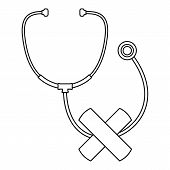Stethoscope Cross Bandage Icon. Outline Illustration Of Stethoscope Cross Bandage Icon For Web Desig poster