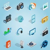 Isometric Media Set Icons. Universal Media Icons To Use For Web And Mobile Ui, Set Of Basic Media El poster