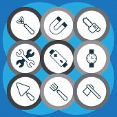 Tools Icons Set With Magnet, Wrench, Battery And Other Putty Elements. Isolated  Illustration Tools  poster