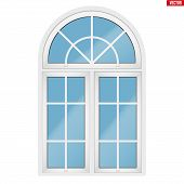 Metal Plastic Pvc Window With Three Sash And Arch And Opening Casements. Outdoor View. Models And Fr poster