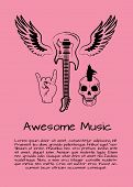 Awesome Music Poster With Symbols Of Rock Music Like Flying Guitar, Skull With Iroquois Haircut And  poster