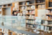 Hallway Of Library With Bookshelf Library In University Blur Abstract Background poster