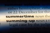 Summertime Word In A Dictionary. Summertime Concept. poster
