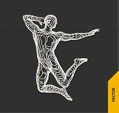 Gymnast. 3d Human Body Model. Gymnastics Activities For Icon Health And Fitness Community. Vector Il poster