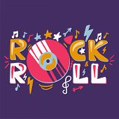 Retro Rock N Roll Label. Music Fest Badge. Festival Banner With Music Album Or Disc. Vector poster