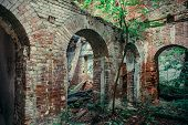 Old Ruins Of A Medieval Abandoned Ruined Red Brick Castle With Arches Overgrown With Trees And Plant poster