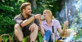 Weekend Picnic. Food For Hike And Camping. Couple Sit Near Bonfire Eat Snacks And Drink. Couple Take poster