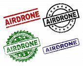 Airdrone Seal Prints With Damaged Surface. Black, Green, Red, Blue Vector Rubber Prints Of Airdrone  poster