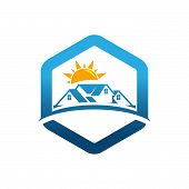 Real Estate Logo Concept Illustration,building Logo In Classic Graphic Style, Citysearch Logo, Abstr poster