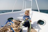 Adventure Concept. Sea Adventure. Little Child Enjoy Adventure On Ship. Say Yes To New Adventure poster