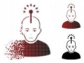 Unhappy Optical Neural Interface Icon In Dispersed, Pixelated Halftone And Undamaged Solid Versions. poster