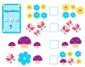 Math Educational Game For Children. Complete The Mathematical Equation Task, Choose More, Less Or Eq poster