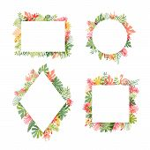 Tropical Flower And Flamingo Bird Frame Collection, Vector Illustration Isolated On White Background poster