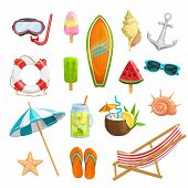 Vector Set Summer Icons. Mask For Diving, Watermelon, Surfboard, Shells, Starfish, Beach Umbrella, F poster