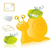 cartoon happy snail mail delivering letters, postcards and messages. Vector illustration isolated on