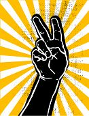picture of peace-sign  - black hand showing victory or peace sign grunge textured vector illustration - JPG