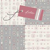 label and four seamless patterns with circles and dots, soft colors, great for fashion industry