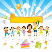 image of birthday party  - group of kids celebrating - JPG