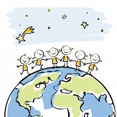 image of cartoon people  - little people together on top of the globe vector illustration - JPG