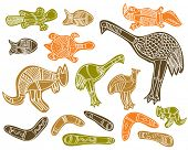 stock photo of didgeridoo  - animals drawings aboriginal australian style - JPG