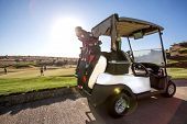 Golf Cart On Golf Course. Golf Club. poster