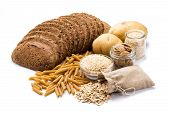 Group Of Whole Foods, Complex Carbohydrates Isolated On A White Background poster