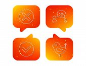 Delete, Check And Chat Speech Bubble Icons. Dialog Linear Sign. Orange Speech Bubbles With Icons Set poster