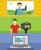 Video Blog Channel Banner Concept Set. Flat Illustration Of 3 Video Blog Channel Banner Horizontal C poster