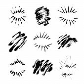 Collection Of Handdrawn Sun Bursts. Unique Design For Your Logo Or Text Drawn By Pen And Ink. Grunge poster