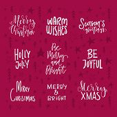 Big Collection Of Handdrawn Christmas And New Year Quotes And Phrases. Lettering For Greeting Cards, poster