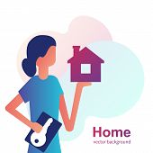 House Key In Hand Woman Icon. Real Estate Agent Holds The Key From Home. Concept Of Selling, Renting poster