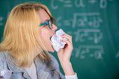 Teacher Ready To Eat Her Paperwork. Teacher Eats Piece Of Paper Absorb Information. Woman Teacher Ea poster