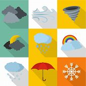 Atmospheric Icons Set. Flat Set Of 9 Atmospheric Icons For Web Isolated On White Background poster