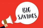 Handwriting Text Big Savings. Concept Meaning Income Not Spent Or Deferred Consumption Putting Money poster