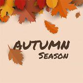 Autumn Season Background With Falling Leaves And Text Banner. Autumn Season Theme, Vector Illustrati poster