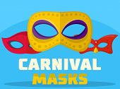 Carnival Mask Logo. Flat Illustration Of Carnival Mask Logo For Web poster