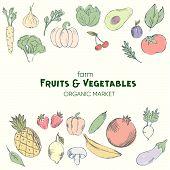 Farm Vegetables Vector Poster. Ideal As Menu, Farm Market Poster. Vegan Concept Sketch Illustration poster