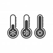 Temperature Icons Set In Flat Style. Simple Meteorology Thermometers Measuring Heat And Cold Isolate poster