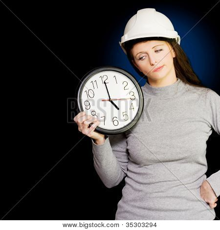 Female Architectural Engineer Watching Time Pass