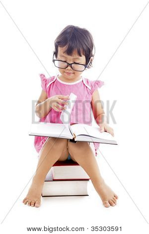 Sweet Girl Reading Book