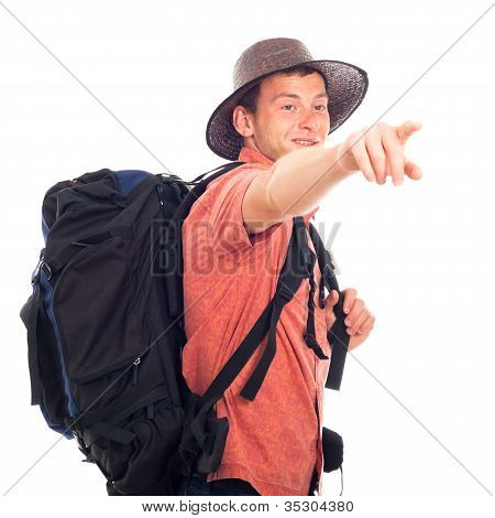 Backpacker Pointing The Way