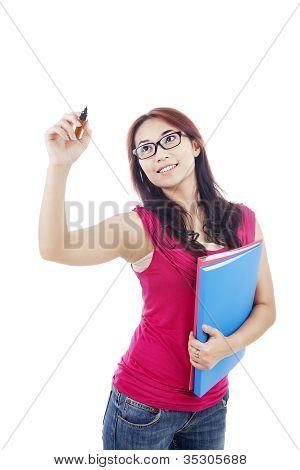 College Student schriftlich auf Textfreiraum