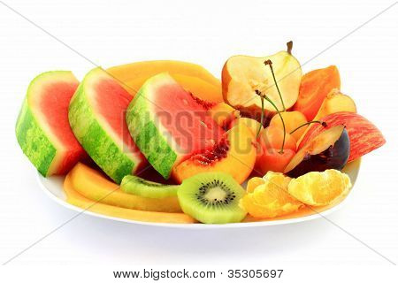 Fruits Platter Served As Breakfast.