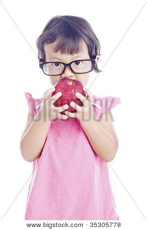 Female Preschooler With Apple