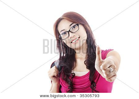 Female Student Showing Thumbs-up