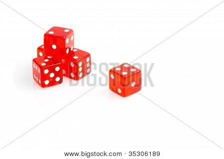 Five Transparent Red Dice