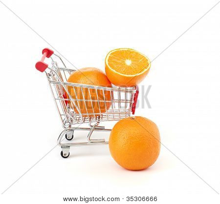 Shopping trolley with fruits