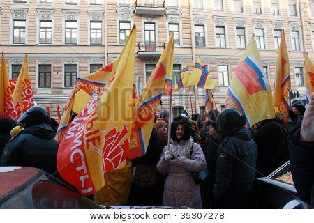 St.Petersburg, Russland Februar 4:meeting gegen unfaire Wahlen am feb.4,2012 in st.petersburg, rf